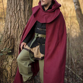 Epic Armoury Mantello medievale con cappuccio Thomas, rosso