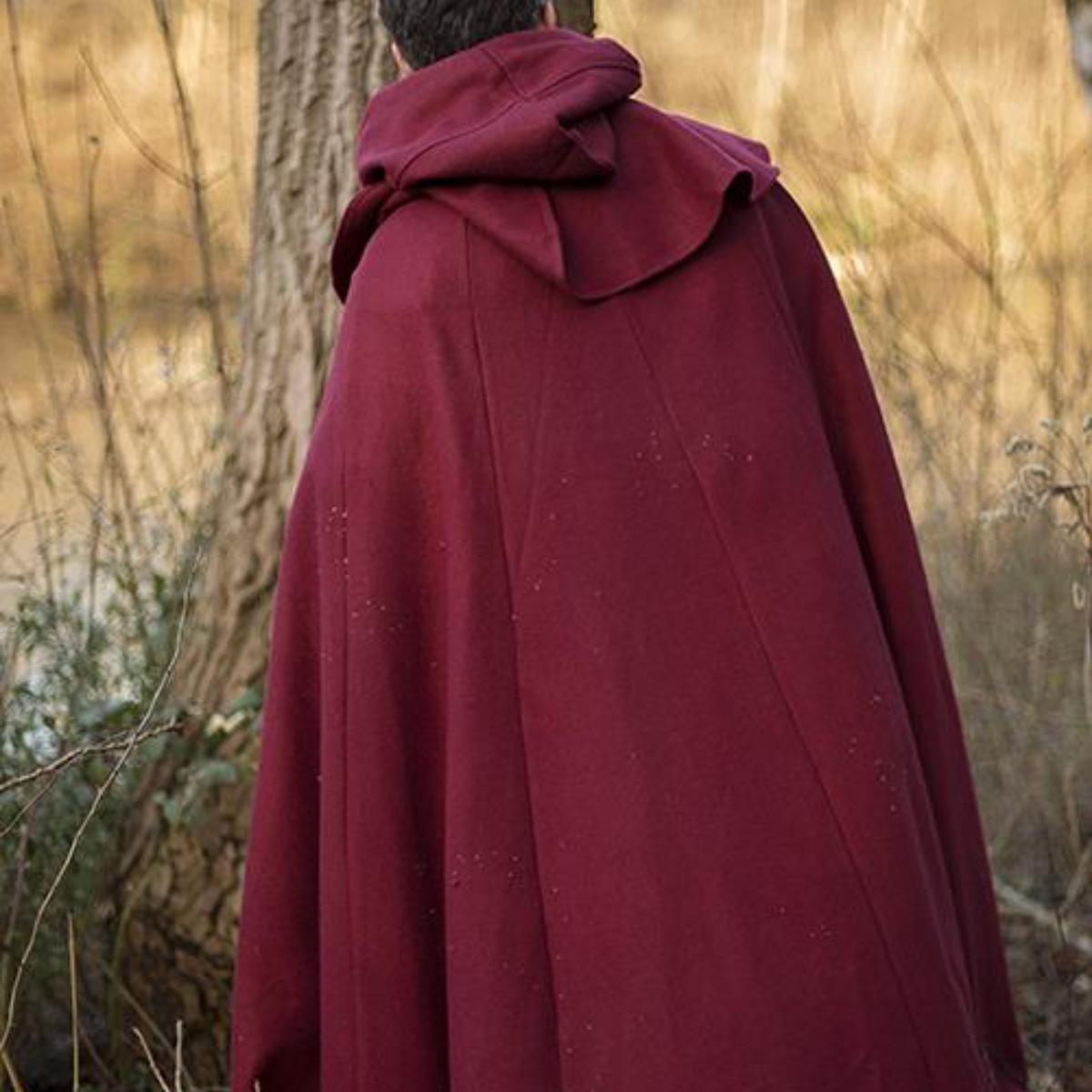 Mantello medievale con cappuccio Thomas, rosso