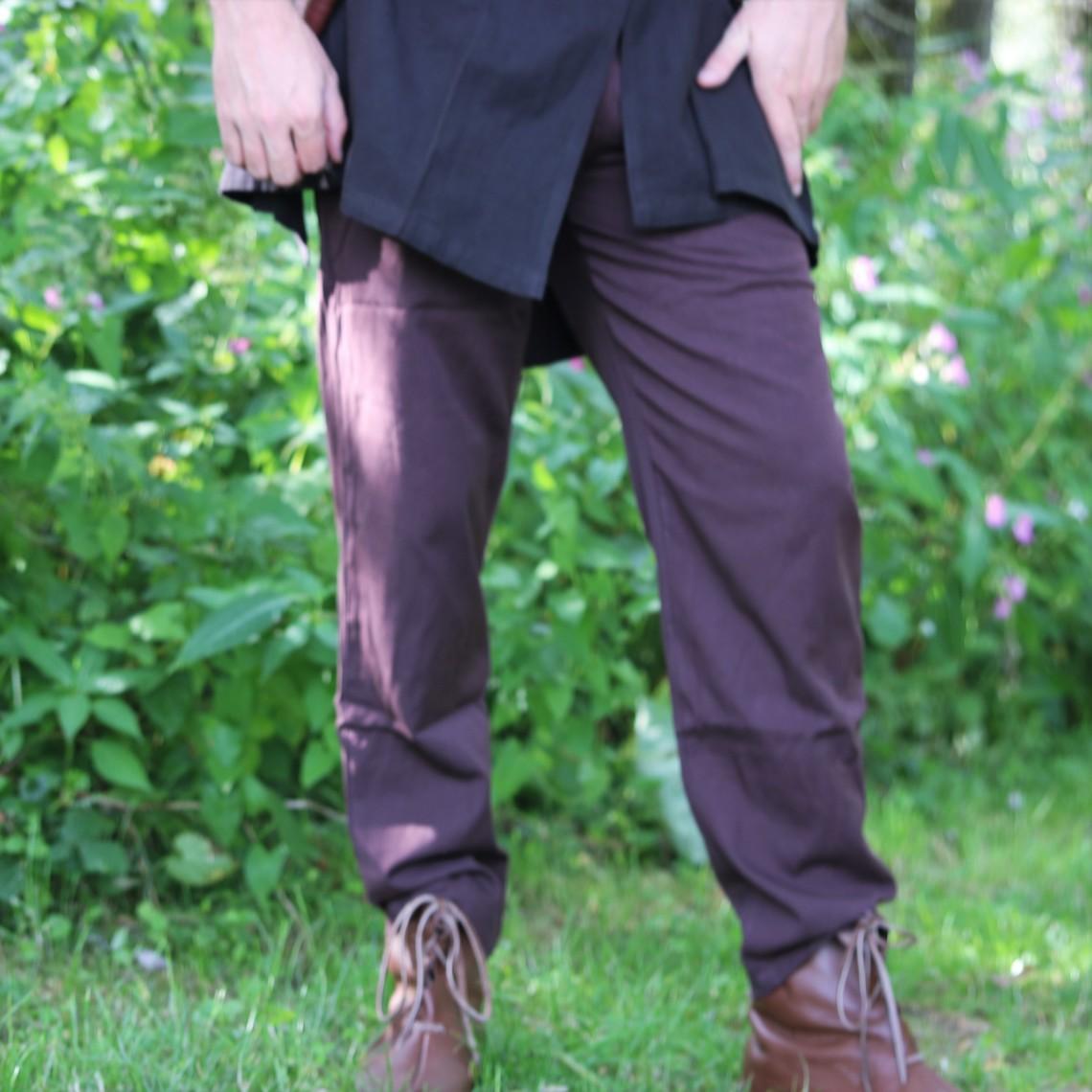 Leonardo Carbone Pantalones de algodón Alin, marrón oscuro