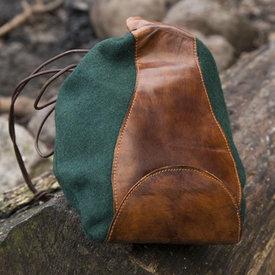 Epic Armoury bolsa de lana, cuero, verde-marrón