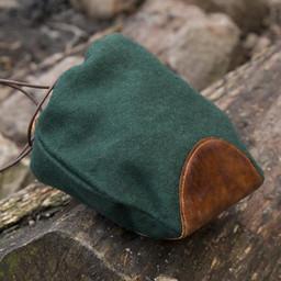Wełna-skórzany woreczek, zielono-brązowy