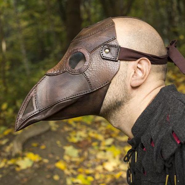 Epic Armoury Läder mask pesten läkare, brun
