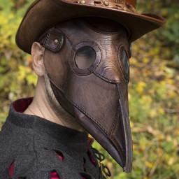 Cuero máscara doctor de la plaga, marrón