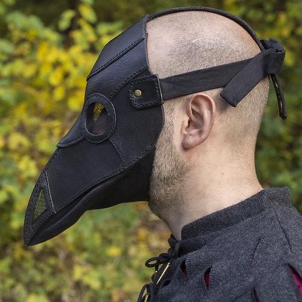 Epic Armoury Pelle maschera peste medico, nero