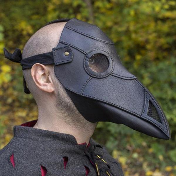 Epic Armoury Læder maske pest læge, sort