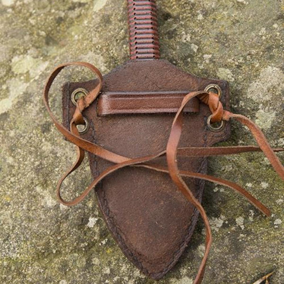 LARP kunai knife with holder, brown