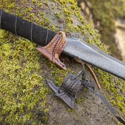 Leather holster hook for LARP sword, brown