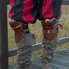 Epic Armoury Pair of leather poleyns, brown-red