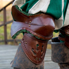 Epic Armoury Pair of leather poleyns, brown-green