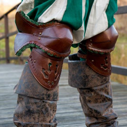 Pair of leather poleyns, brown-green
