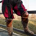 Epic Armoury Coppia di poleyns in pelle, marrone-nero