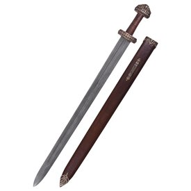 Deepeeka Viking isla Eigg espada de acero de Damasco, empuñadura de cuero