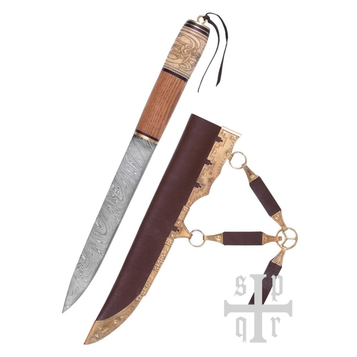SPQR De Viking seax con motivo de nudo, acero de Damasco
