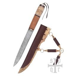 Vikingsax met knoopmotief, damascusstaal