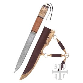 SPQR Vikingsax met knoopmotief, damascusstaal