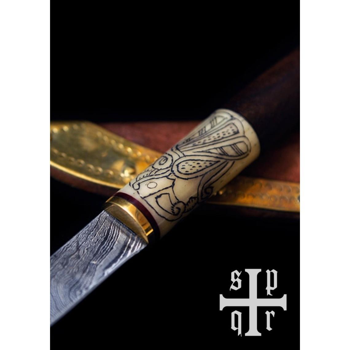 SPQR Viking knife Odins raven, damascus steel