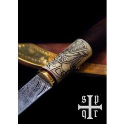 Viking nóż Odins kruka, Damaszku stali