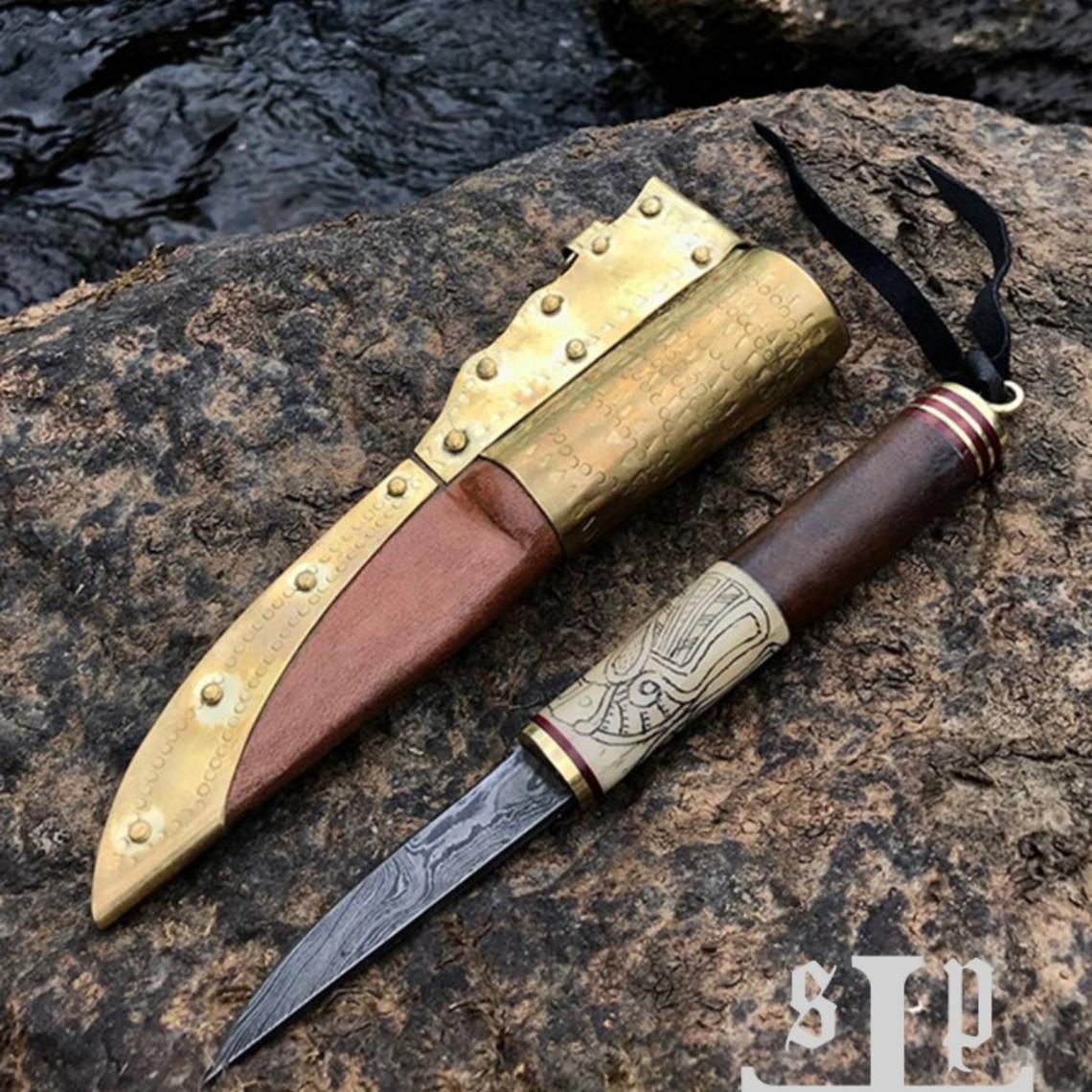 SPQR Viking coltello Odins Raven, acciaio Damasco