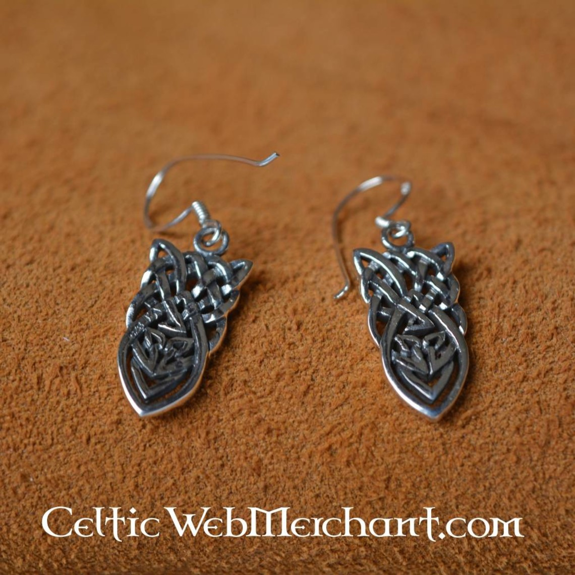 Celtic wiązane kolczyki, srebro