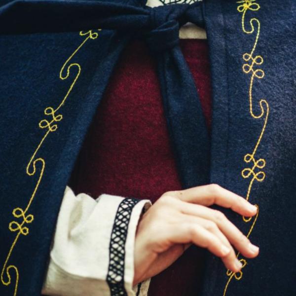 Wollen mantel Ceridwen, blauw