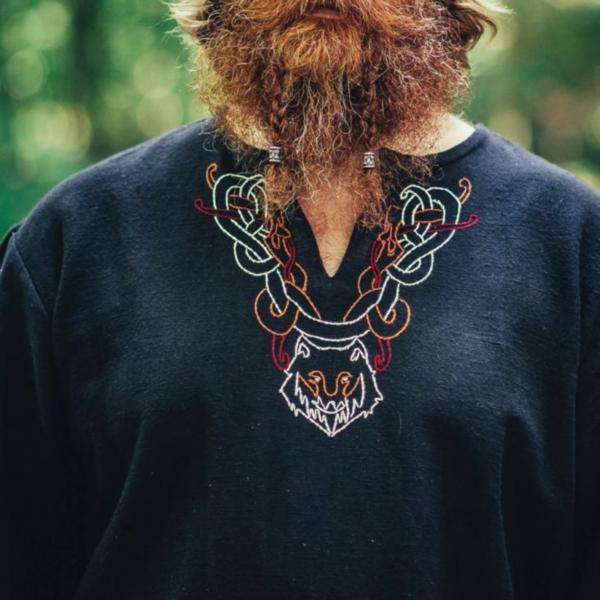 Vikingtuniek wolf Fenrir, zwart