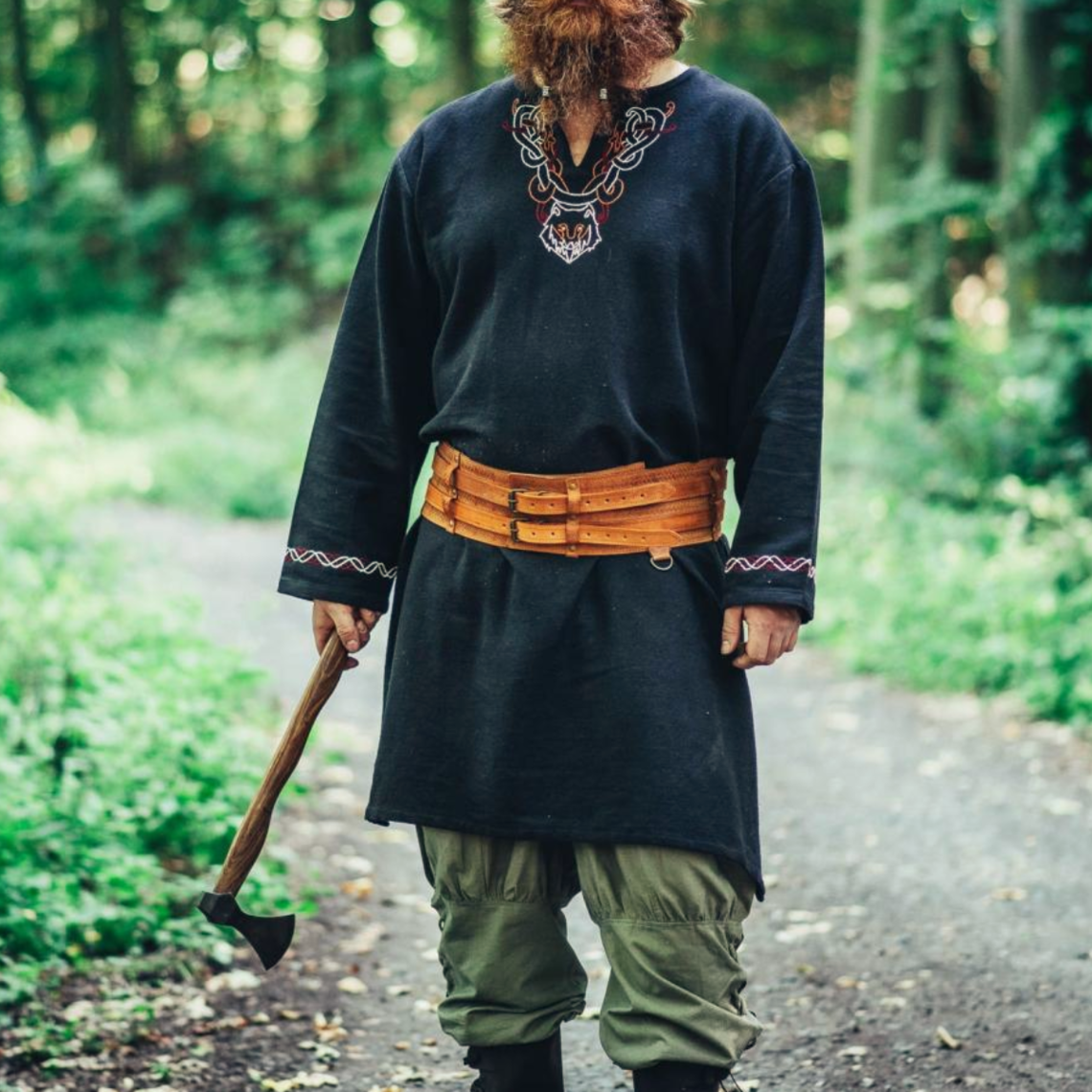 Leonardo Carbone Wikinger Tunika Wolf Fenrir, schwarz