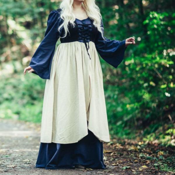Leonardo Carbone Laatmiddeleeuwse jurk Aurora, blauw-naturel