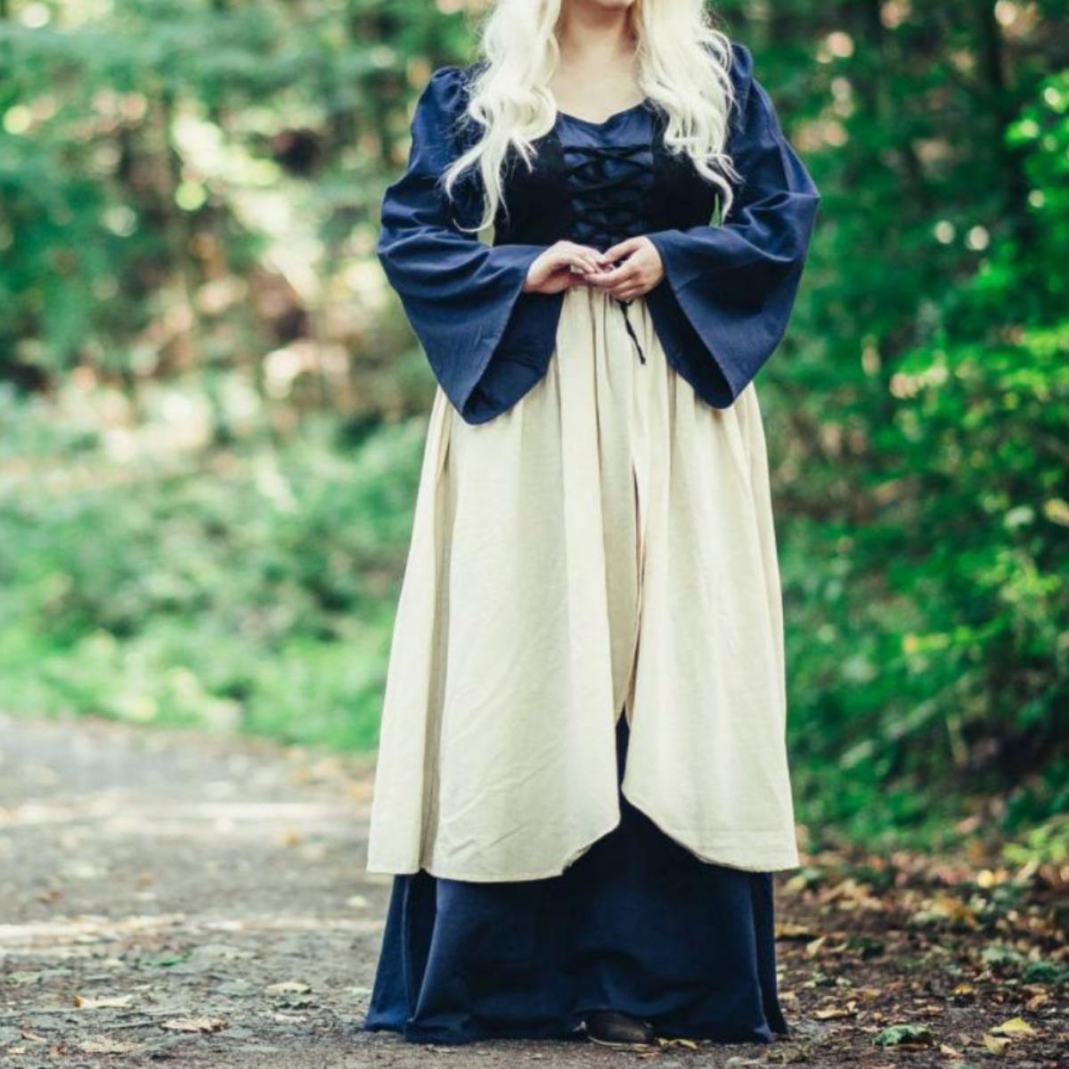 Laatmiddeleeuwse jurk Aurora, blauw-naturel