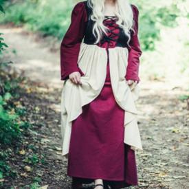 Laatmiddeleeuwse jurk Aurora, rood-naturel