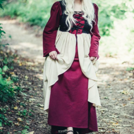 Late medieval dress Aurora, red-natural