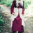 Abito tardo medievale Aurora, rosso-naturale