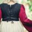 Sen medeltida klänning Aurora, röd-naturlig