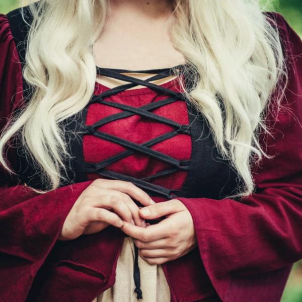 Leonardo Carbone Sent middelalderlig kjole Aurora, rød-naturlig