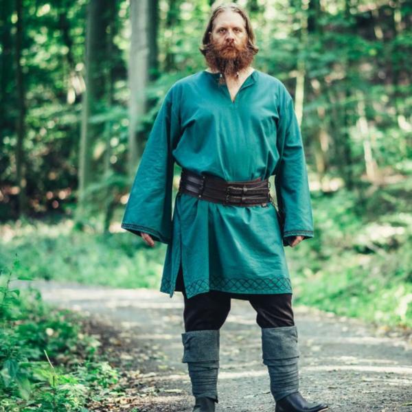 Leonardo Carbone Haftowana tunika Thorgrim, zielona