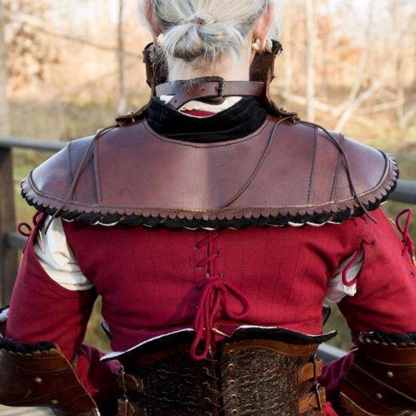 Epic Armoury Noble skóra gorget, czerwony
