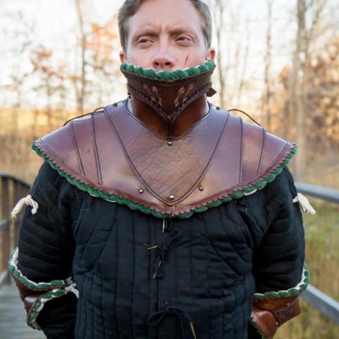 Epic Armoury Lang læder bevor, grøn