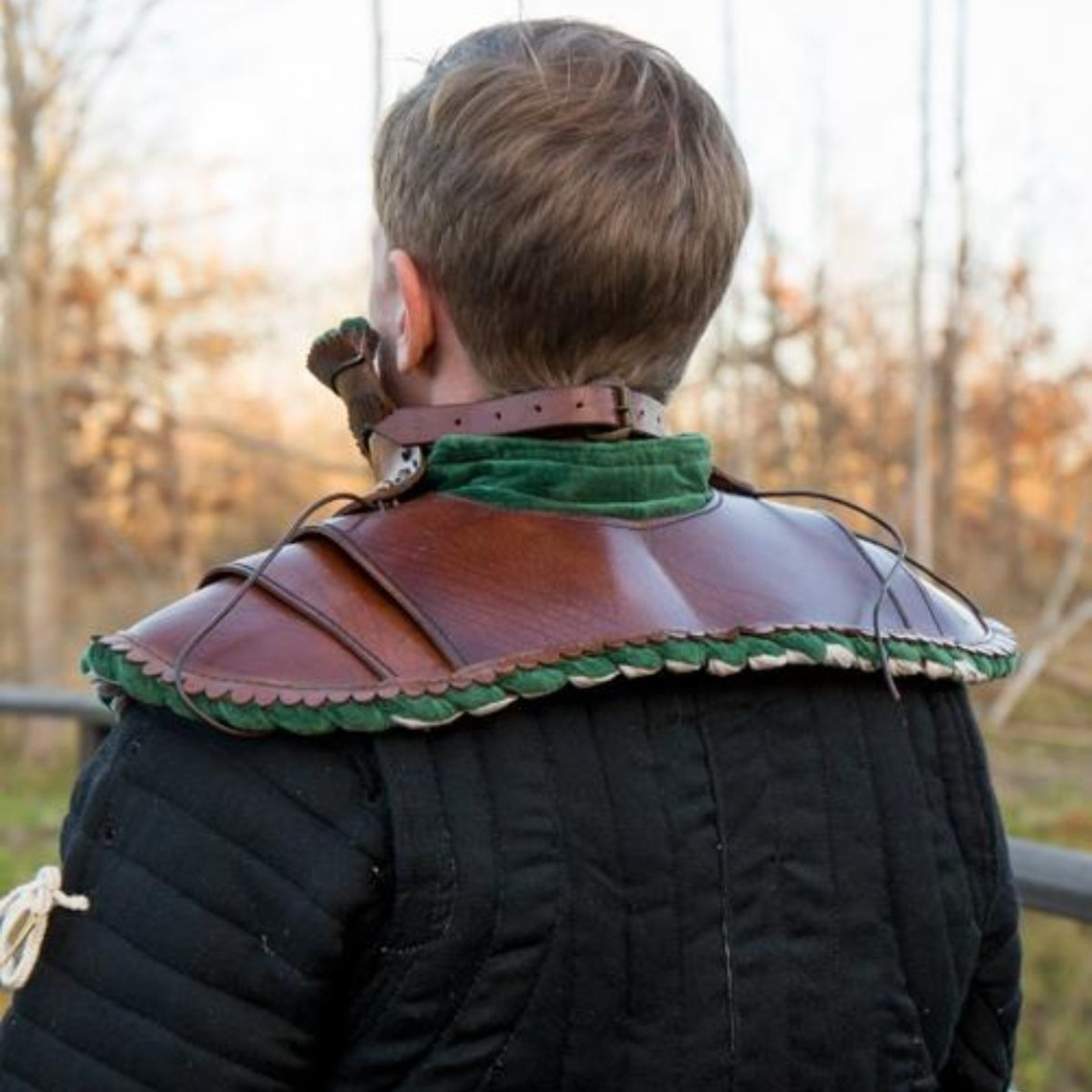 Epic Armoury Long leather bevor, green