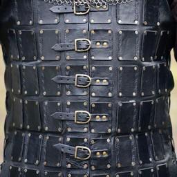 Leather brigandine long, black