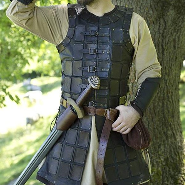 Epic Armoury Læder brigandine lang, sort