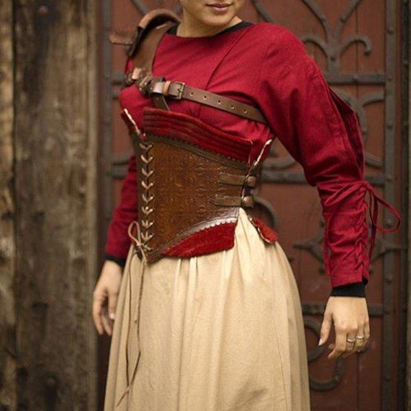 Epic Armoury Skórzany gorset Margot, czerwony