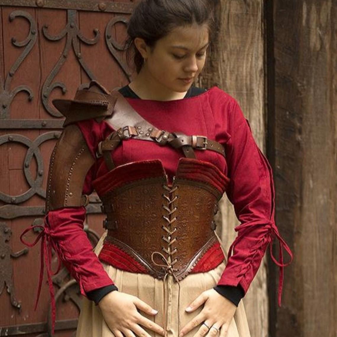 Epic Armoury Corsé de cuero Margot, rojo