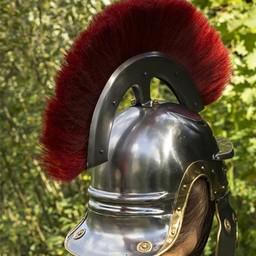 Roman legionary helmet with red crest