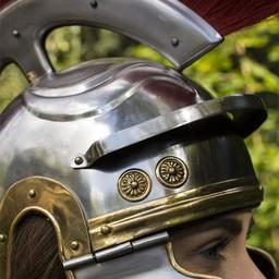 Römischer Legionärshelm mit roter Haube