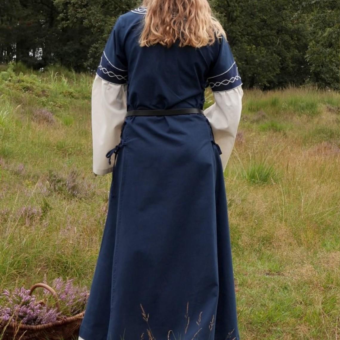 Gotische jurk Fiona, blauw-naturel