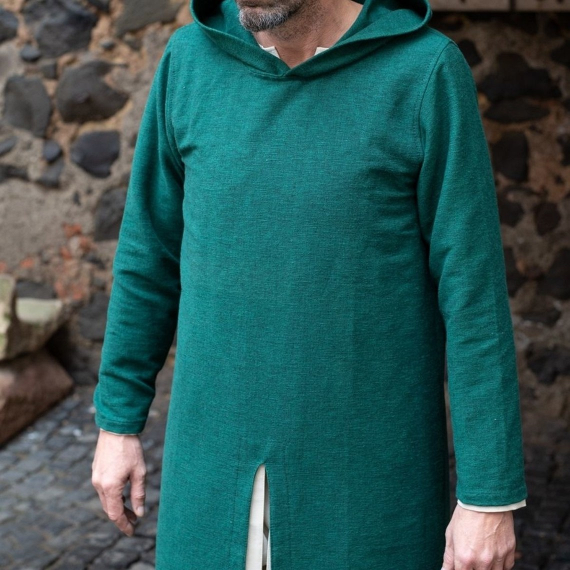 Burgschneider Túnica medieval con capucha Renaud, verde.