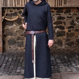 Middeleeuwse tuniek met kap Renaud, zwart
