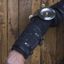 15th century steel-leather arm guards, black