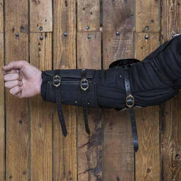 Epic Armoury 15th century steel-leather arm guards, black