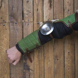 15th century steel-leather arm guards, green