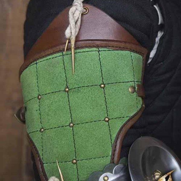 Epic Armoury 15th century steel-leather arm guards, green